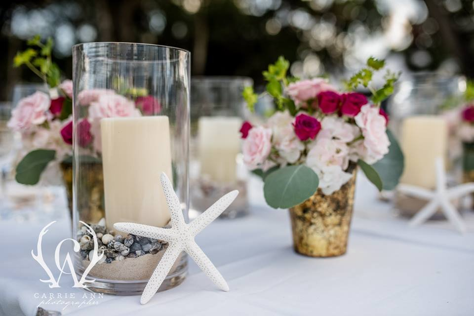 Candles and Flowers in Hot Pink and Blush with Bulpurium on Feasting Tables