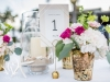 Gold Mercury Vases with Sand, Shells, Candles on Feasting Tables