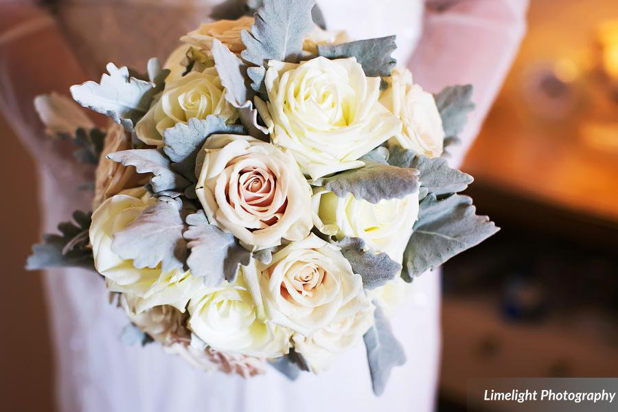 Bridal Bouquet Sahara and Mondial Roses with Dusty Miller