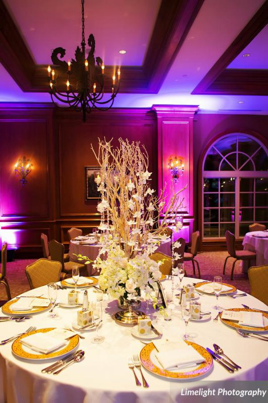 Reception Table Centerpiece with Manzanita and Raining Orchids