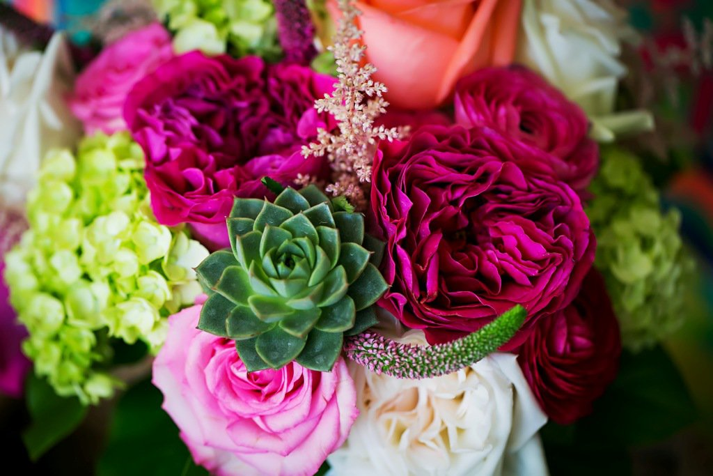 Gorgeous Bridal Bouquet with Hot Pink Roses, Succulents, Coral Roses