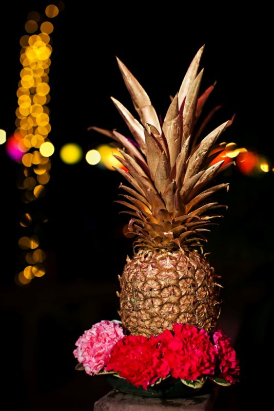 Gold Pineapple Accent with Roses for Cocktail Tables