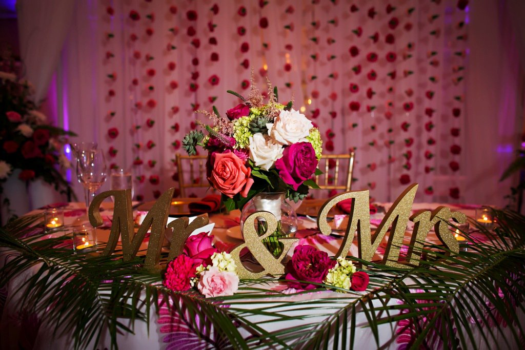 Sweetheart Table with Mr. and Mrs. Signs
