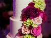 Wedding Cake with Hot Pink Roses and Hydrange
