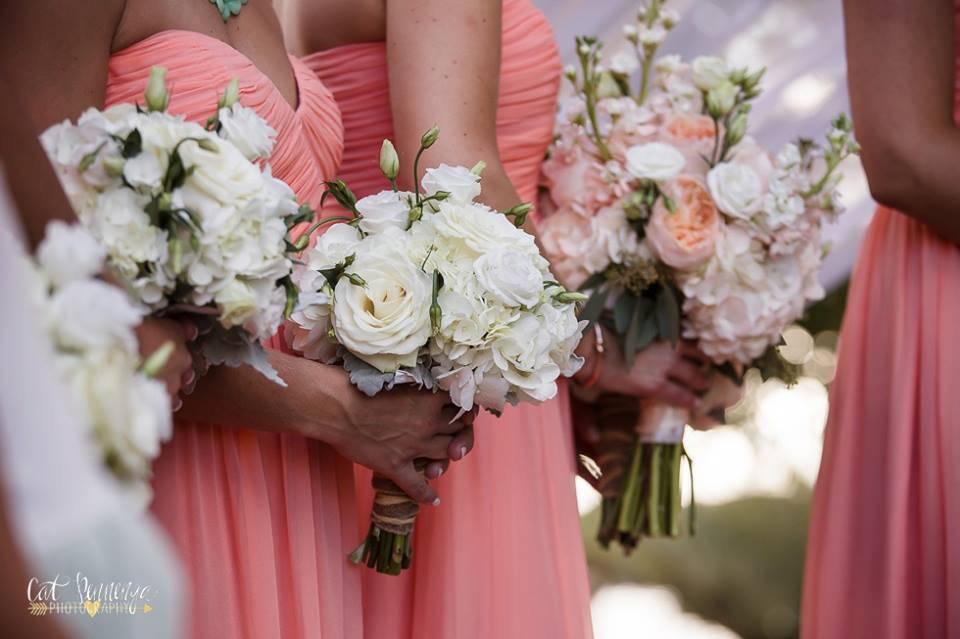 Bridesmaids Garden Bouquets in White