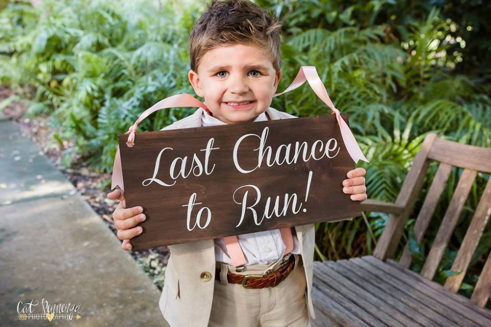 Ringbearer with Last Chance Sign