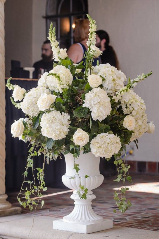 Urn with White Roses, Lush Greenery, and Hydrangea