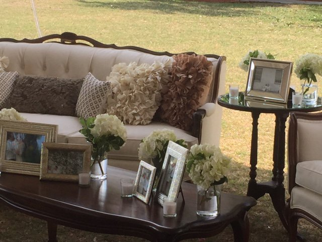 So Staged Furniture with Hydrangea