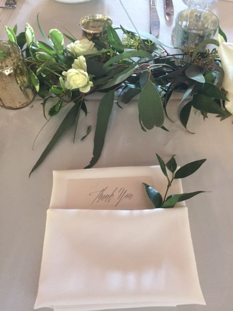Garland and sprig of Garland in Napkin