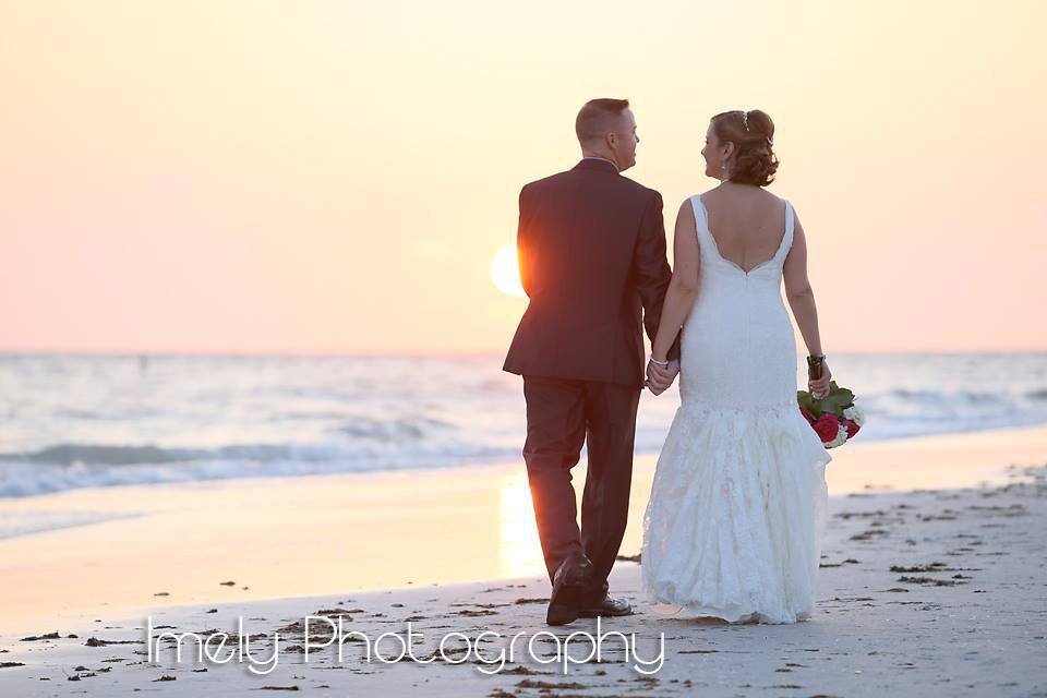 Bride and Groom on Lido Key Beach