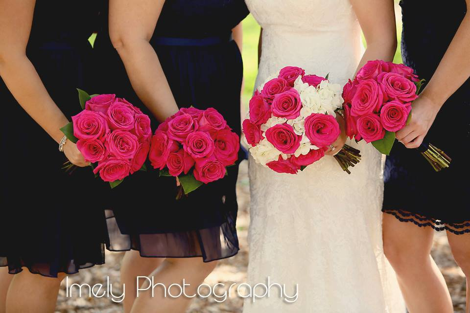 Bridal Bouquet of White Hydrangea and Pink Floyd Roses