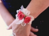 Wrist Corsage on Pearl Band with Pink Roses