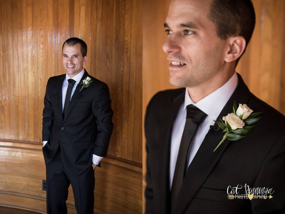 Groom with Double Spray Roses Boutonniere