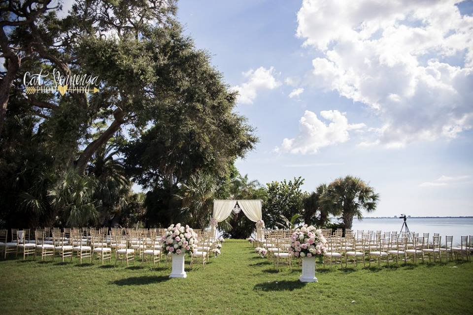 Ceremony at Powel Crosley with Arch, Aisle Flowers