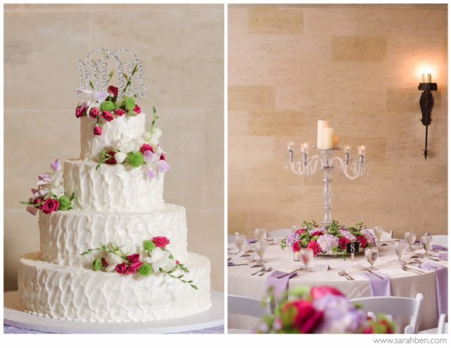 Wedding Cake with Flowers and Crystal Candleabra