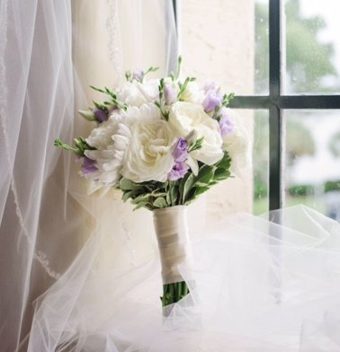 Garden Bridal Bouquet with Hint of Lavender
