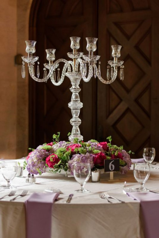 Lead Crystal Candleabra with Flowers at Bottom