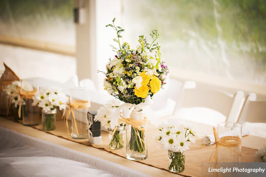 Bridal Party Head Tables with Daisies and Wildflower Bouquets