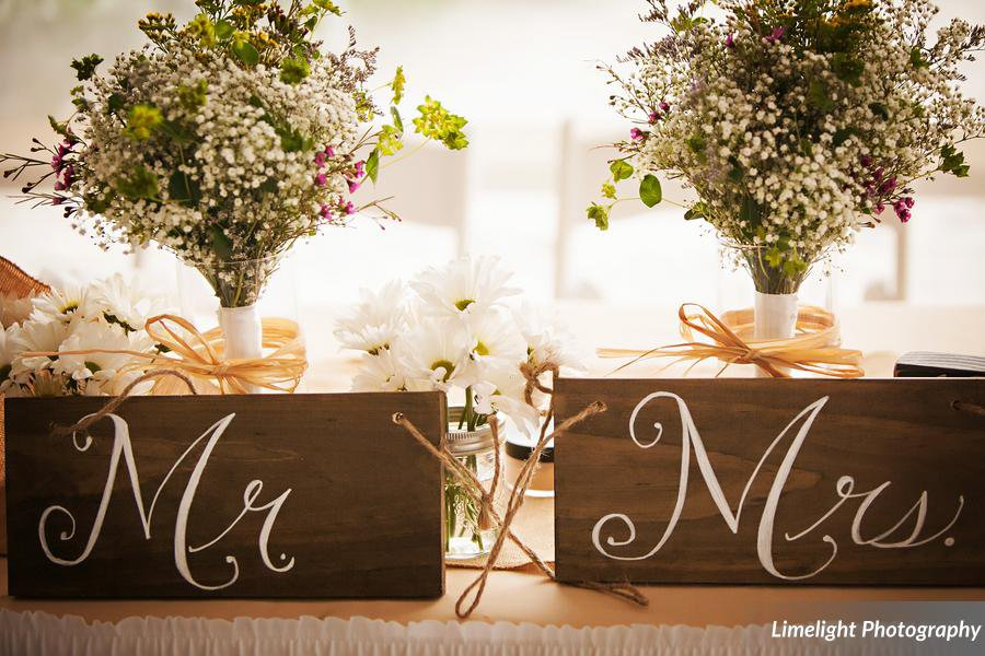 Mr. and Mrs. Signs with Flowers