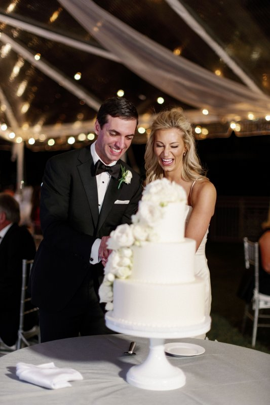 Beautiful All-White Wedding Cake with White Flowers