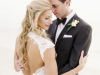 Bride and Groom with Double Spray Rose Boutonniere