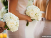 All-white bridesmaids' bouquet of hydrangea and garden spray roses