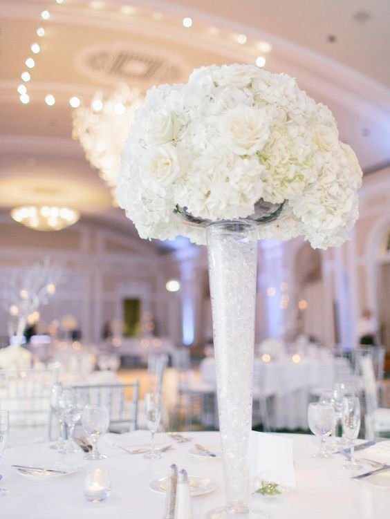 Elevated Hydrangea and Roses Centerpiece
