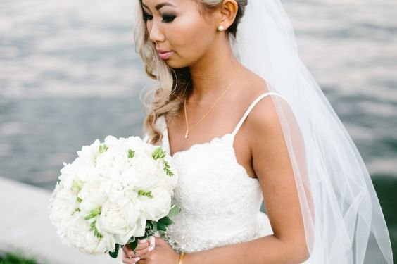 All-White Garden Roses and Freesia Bridal Bouquet