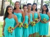 Teal, purple, and green bridesmaid's flowers