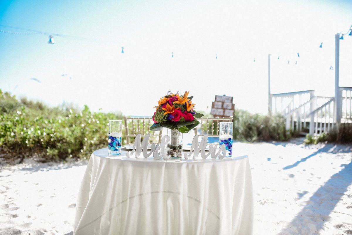 Sweetheart Table with Bridal Bouquet