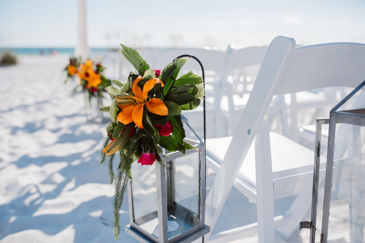Shepherd Hook with Colorful Floral at Ceremony Site
