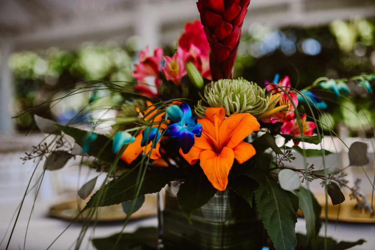 Orange Lillies Red Ginger Blue Orchids Green Tropical Centerpiece