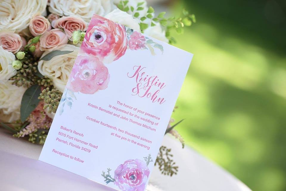 Wedding Invite with Flowers
