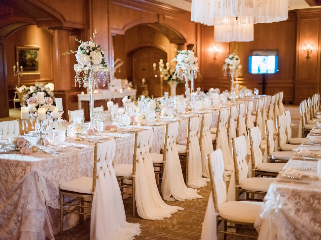 Vintage-Look Wedding with Guest Table Centerpieces