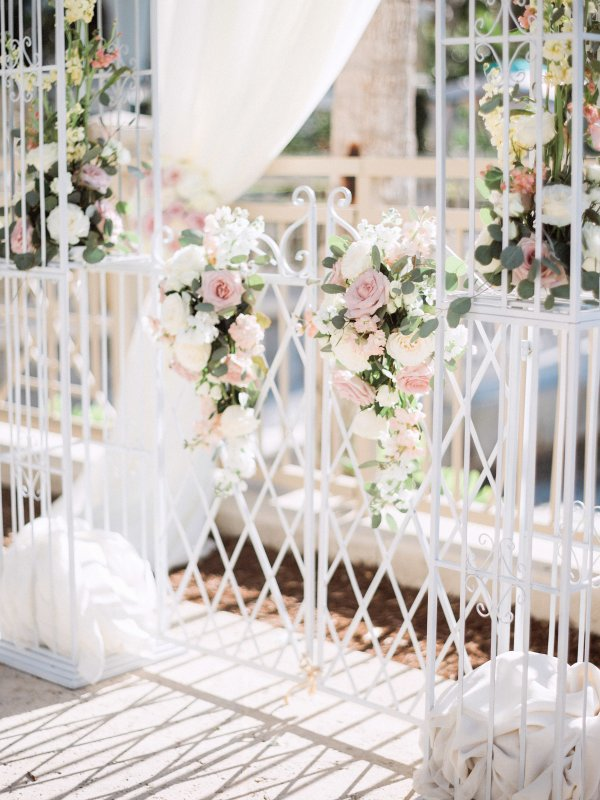 Flowers on Arch in Blush and Cream