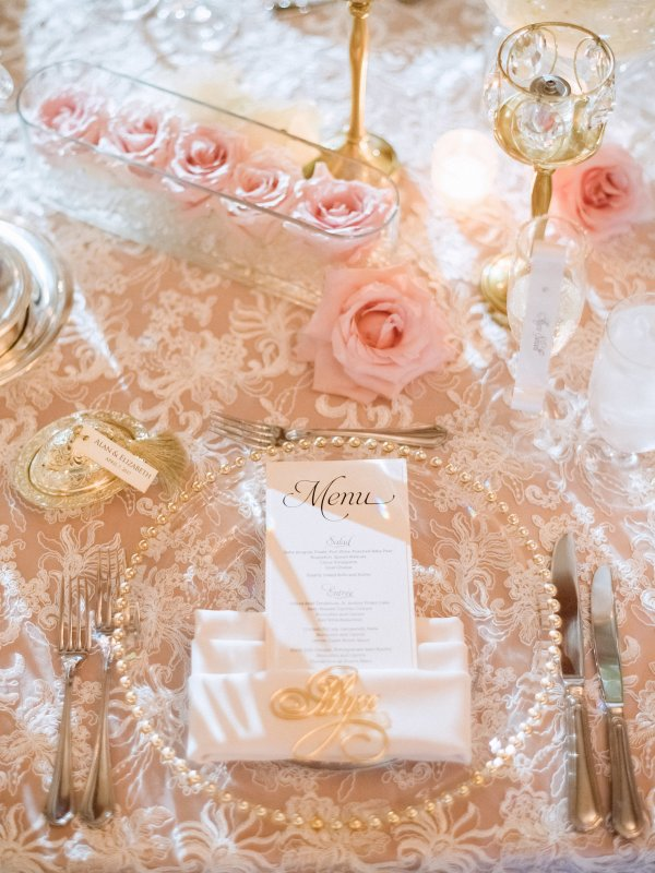 Guest Table Details with Blush Roses
