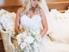 Bride with Garden Bouquet of Blush Roses, Stock, and Genestra