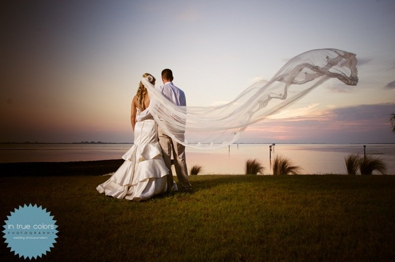 bride and groom at sunset, powel crosely estate