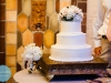 wedding cake with bouquet to throw, destination wedding