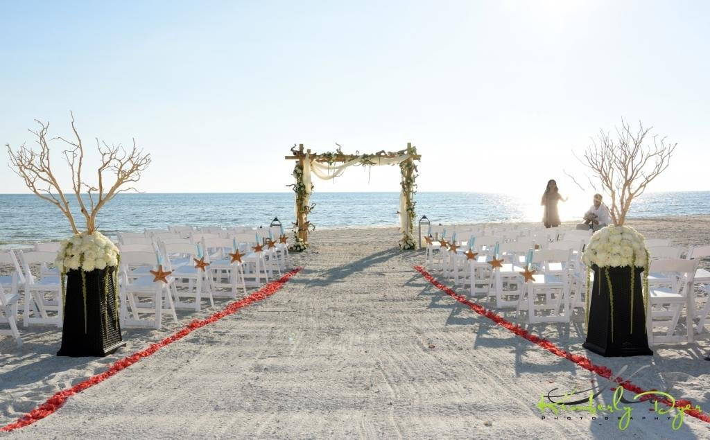 Beach Ceremony with Bamboo Driftwood Arch Manzanita Back of Aisle