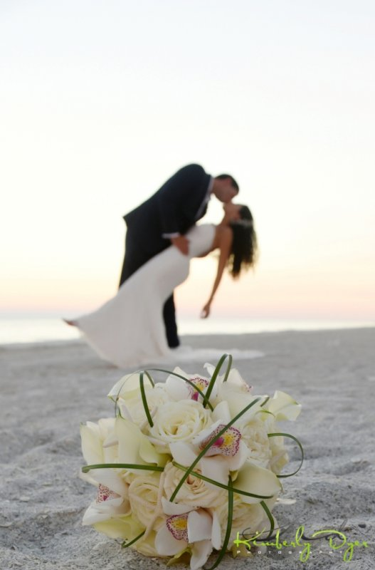 Bridal Bouquet with Couple on Beach