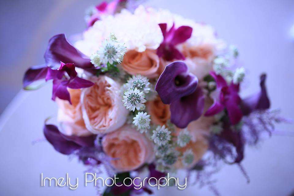 Bridal Bouquet with Plum Mini Calla Lilies, Juliette Garden Roses, and More