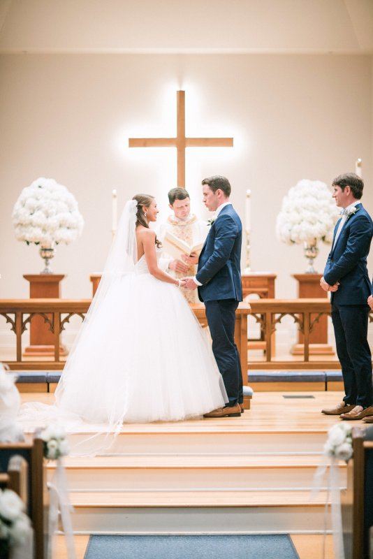 Wedding Ceremony with Hydrangea Arrangments