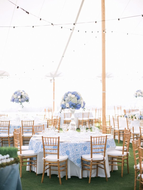 Tall Blue and White Wedding Centerpieces