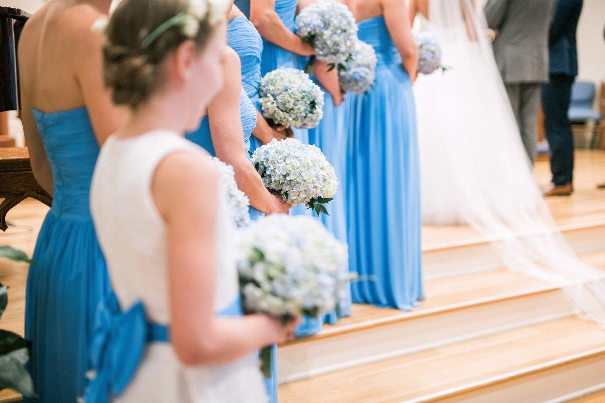 Blue Hydrangea Bridesmaids Bouquets