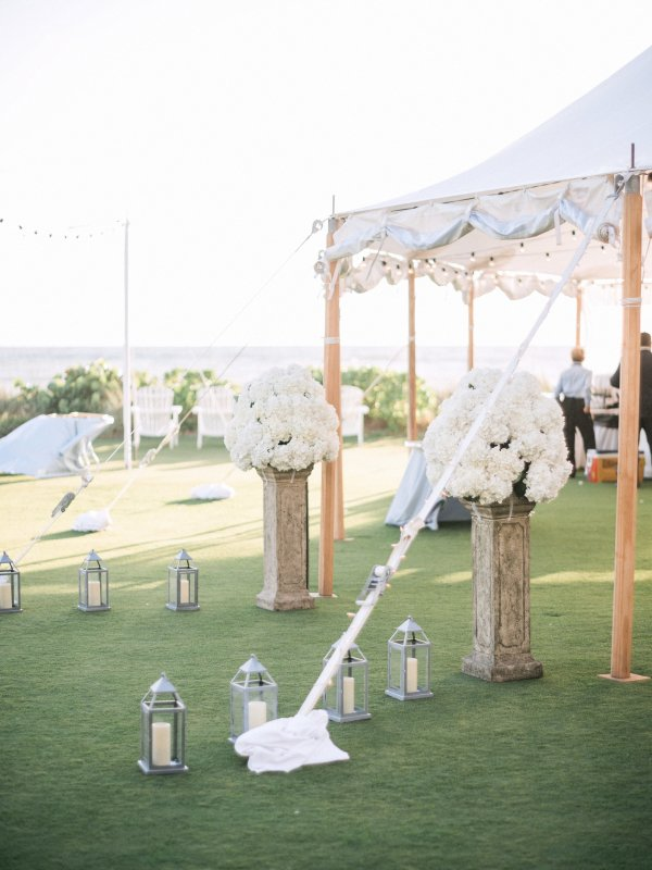 Entrance to Wedding Tent with Lanterns and Hydrangea