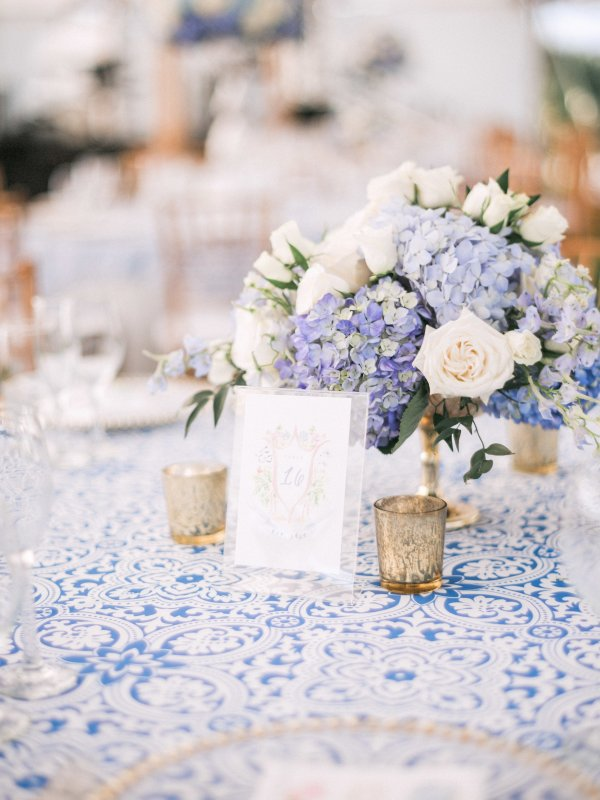 Gold Footed Bowl Centerpiece with Blue and White Hydrangea Roses