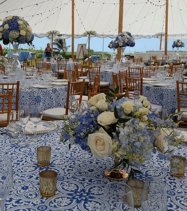 Hi and Low Arrangements in Blue White and Gold
