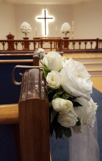 Church Pew with Roses