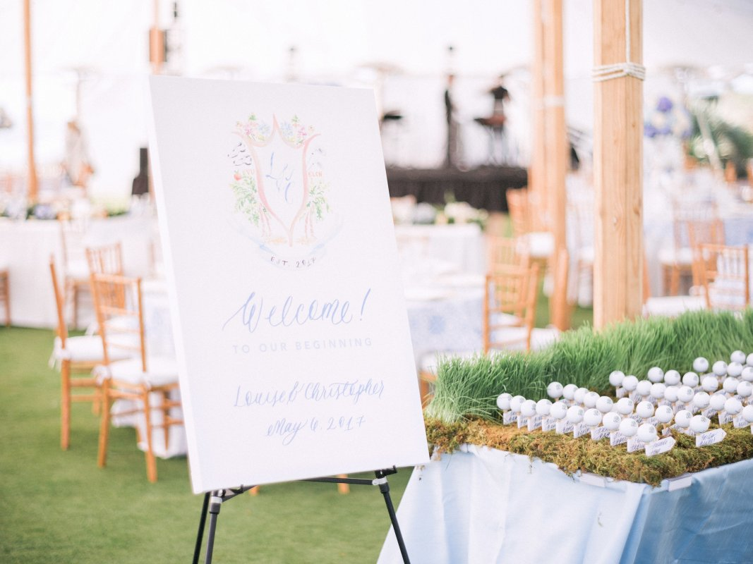 Place card Table with Gold Balls on Tees with Grass